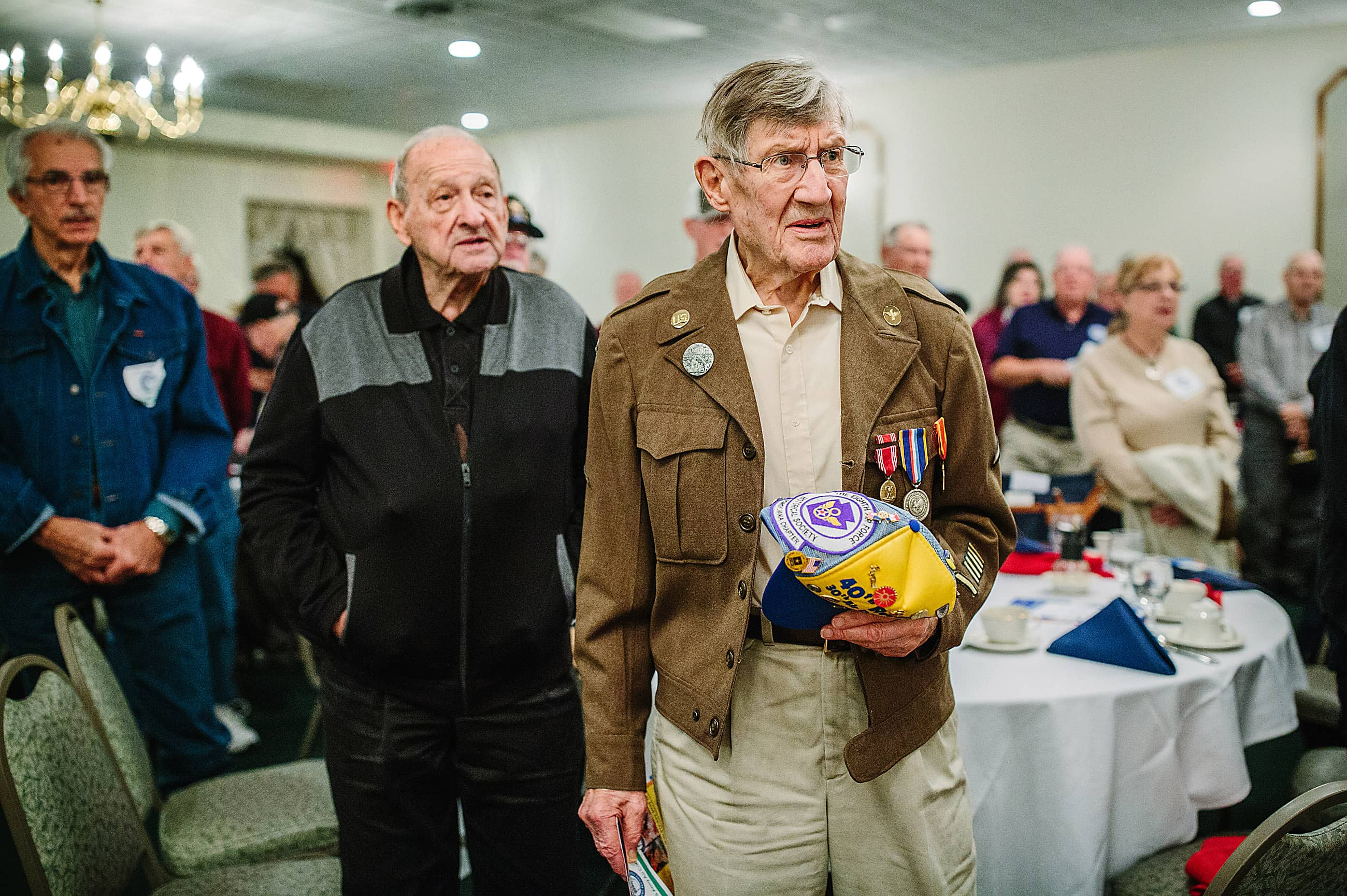 US Army Air Corps veteran Hartley Baird of Bethel Park, sings 'God Bless America' during a Veteran's Breakfast Club event at Salvator's Events and Catering in Baldwin on October 25, 2016. (Andrew Rush/Post-Gazette)